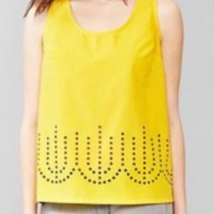 BRAND NEW yellow woven tank top with cutout detail